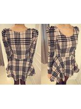 Autumn Plaid Printing Dresses A Line Slim Fit Preppy Item Size S-XXL Cheap Cloth For Sale