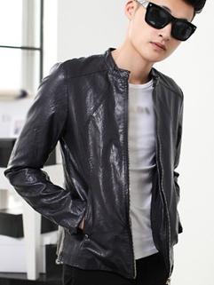 2014 Autumn Slim Cut Jackets Pure Color Zip up Stand Collar Pub PU Dark Blue Jackets M-3XL