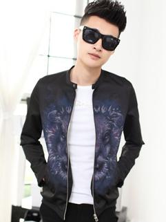 High Quality Jackets Lion Head Printed Pattern Stand Collar Long Sleeve Black Jackets M-XXL
