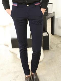 2014 Leisure Style Pants Skinny Pure Color Mid Waist Long Blue Cotton Pants 28-33