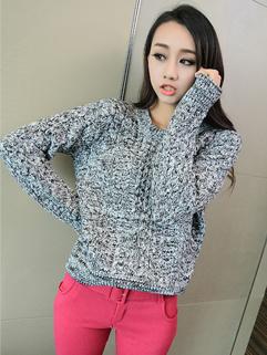 Hot Fashion 2014 Korean Autumn Women Pullover Sweater Long Sleeve Knitted Round Collar European Sweater