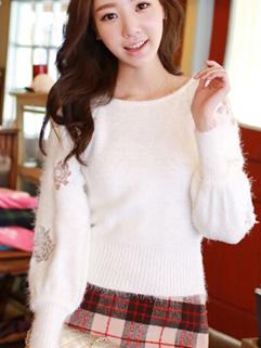 2014 Korea Sweet Style Women Sweater Pullover Round Collar Loose Lantern Sleeve White Short Sweater