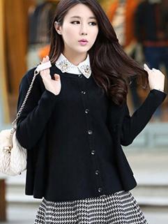 Korea Oversize Sweater Beading Lapel Button Coats Short Loose Street Style Black Coats