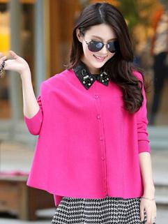 European 2014 Newest Sweater Beading Lapel Cardigan Long Bat Sleeve Rose Coats