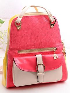 2014 Fashionable Korean All-matching Sweet Color Zip Up Soft Belt Buckle Two Shoulder Belt Women Backpacks For Sale