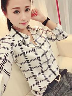 Fresh Girl Blouse Grid Pattern Lapel Long Sleeve Top Chiffon White College Style Blouse