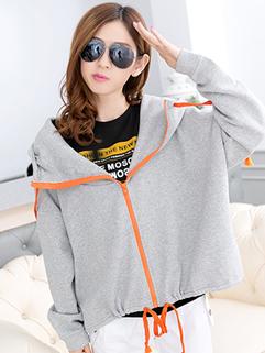High Quality 2014 Hoodies Zipper Up Bandage Loose Coats Hooded Cotton Woolen Hoodies