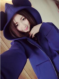 New Coming 2014 Korean Wear Ear Decorated Coat Hooded Long Sleeve Vertical pocket Cute Sweet Girl Coat