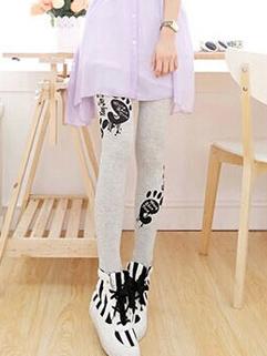 2014 Korean New Fashion Preppy Casual Legging Carton Pattern Mid-Waist Skinny Korean Women Legging For Sale