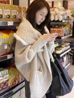 Korea New Stylish Swearer Lapel Solid Color Loose Coats Pockets Irregular Khaki Coats