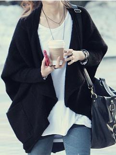 Hot Selling Wholesale Swearer Solid Color Loose Coats Pockets Woolen 2 Colors Coats