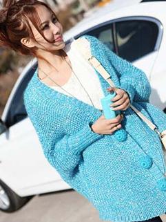 Exquisite Korea Top Solid Color Long Sleeve Loose Top Woolen Blue Street Style Sweater