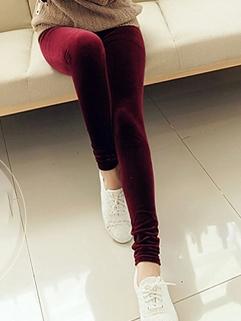 Hot Selling Women Leggings Solid Color Long Leggings Flannelette Street Style 4 Colors Leggings