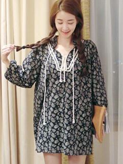 2014 Fresh Vintage Design Women Printing Dress Loose Fit Korean Preppy Style Wear Dress
