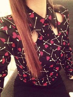 Korean OL Deals Female Blouse Slim Cut Heart Printing Hollow Out Charming Wear Blouse