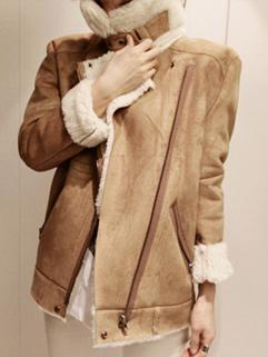 Zipper Up Women Coat Winter Woolen Winter Warm Wear With Cotton Out Going Wear Size S-L