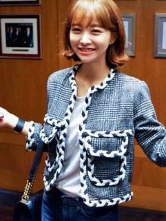 2014 Autumn New Brand Korean Fitted Coat Hemp Flower Vertical pocket Round Neck Chic Women Coat S M For Sale