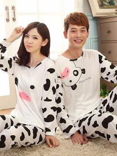 Hot Selling Sweet Couple Suits Cow Pattern Color Block Pajamas Plus Size Couple Suits