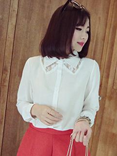 2014 Vintage Style Women Blouse Pure Color Lapel Long Sleeve Casual White Lace Splicing Chiffon Blouse