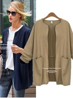 2014 All Match Coats Solid Color Long Sleeve Coats Loose Cotton Zipper 3 Colors Coats