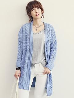 Fresh Women Hot Cardigan Solid Color Long Sleeve MD-Long Top Zipper Woolen Azure Sweater