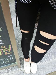 2014 Unique Design Fashion Legging Pure Color Long Pants Holes Black Girls Leggings