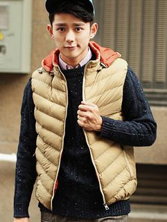 2014 Winter New Fashion Casual Men Coat Zip Up Sleeveless Hooded Collar Vertical pocket Coat M-XXXL