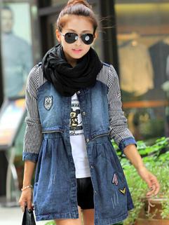 2014 Denim High Waist Long Coat Women Street Style Look With Cotton Warm Size S M L Coat