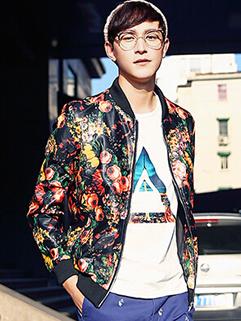 Korean Fashion Men All Match Autumn Coat Zip Up Vertical pocket Floral Pattern Easy Handling Coat M-XXL