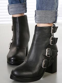 Wholesale Korean Short Boots Back Zipper Round Toe Chunky Wood Heel Black Casual Boots 35-39