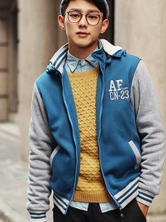 2014 Street Style Winter Added Woolen Coats Color Block Zip Up Cardigan Hooded Casual Blue Coats M-XXL