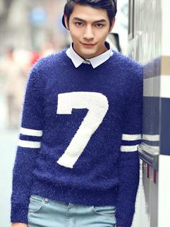 2014 Autumn Fashion Men Sweater Pure Color Geometric Embroidery Round Collar Casual Blue Sweater M-XXL