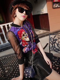 Euro Famous Brand PU Fabric Women Suit Zipper Up Short Printing Top And High Waist A Line Skirt Female Suits