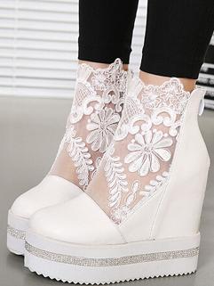 Fashion Show Item Women Platforms Rhinestone Lace See Through Short Boot Silvery Platforms 34-39