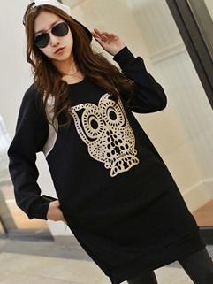 2014 European Street Style Long Thicken Hoodies Owl Printed Pattern Round Collar Cotton Black Hoodies M-XL