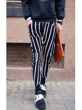 2014 New Arrival Korean Striped Pattern Sport Men Pant Casual Vertical pocket Pulling Ropes Black Color Pant