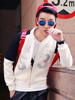 2014 The Latest Catwalk Fashion Men Coat Zip Up Reflect Light Letter Pattern Split Joint Pocket Coat M-XL