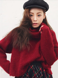 Korea Newest Sweater Solid Color Long Sleeve Heaps Collar Pullover Striped Woolen Casual Sweater