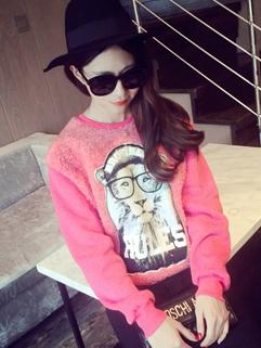 Newest Fashion Show Item Women Hoodies Woolen Lion Printing Autumn Leisure Wear Female Top
