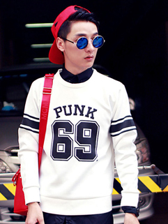 2014 New Fashion To Youth Autumn Catwalk Pullover Hoodie Pure Color Letter Striped Printed Slim Wear Hoodie
