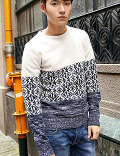 2014 Winter Warm Men Sweater Color Block Pattern Round Collar Casual Sweater M-XXL