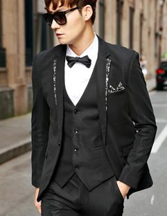 2014 Korean Slim Cut Coats Pure Color Floral Splicing Cardigan Casual Lapel Top Fitted Black Coats M-XXL