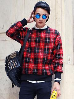 2014 Catwalk Vintage New Brand Woolen Pullover Hoodie Round Neck Long Sleeve Plaid Pattern Red Color Hoodie