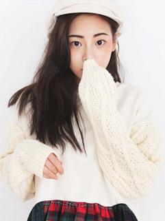 Fresh Women Sweater Grid Pattern Long Sleeve Color Block Pullover Woolen Casual Sweater
