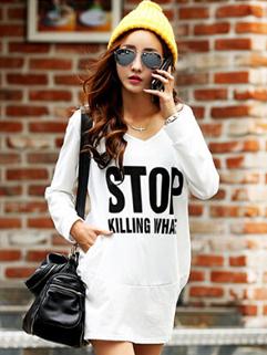 2014 Korean Loose Long Hoodies Letter Pattern Hooded Cotton White Hoodies S-XL