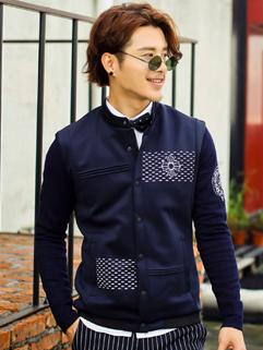 Autumn 2014 Korea Jackets Cross Pattern Long Sleeve Top Fitted Casual Street Style 4XL Jackets