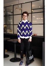 2014 Wholesale Fashion Hoodies Striped Color Block Geometric Top Street Style Blue Hoodies