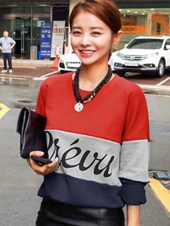 2014 Hottest Korean Leisure Color Block Hoodies Women Top Letter Printing Loose Fit Female Hoodies