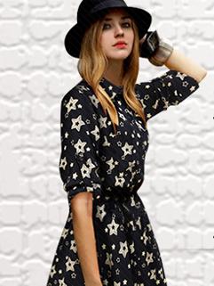2014 Autumn Winter Euro America Popular Long Sleeve Dress Printed Lapel Smart Waist Pocket Button Dress S-XL