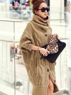 2014 Korean Elegant Women Sweater Long Coat Wear Button Up Bat Wing Sleeve Loose Fit Leisure Coat